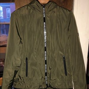 Michael Kors Army Green Jacket with Faux Fur Hood